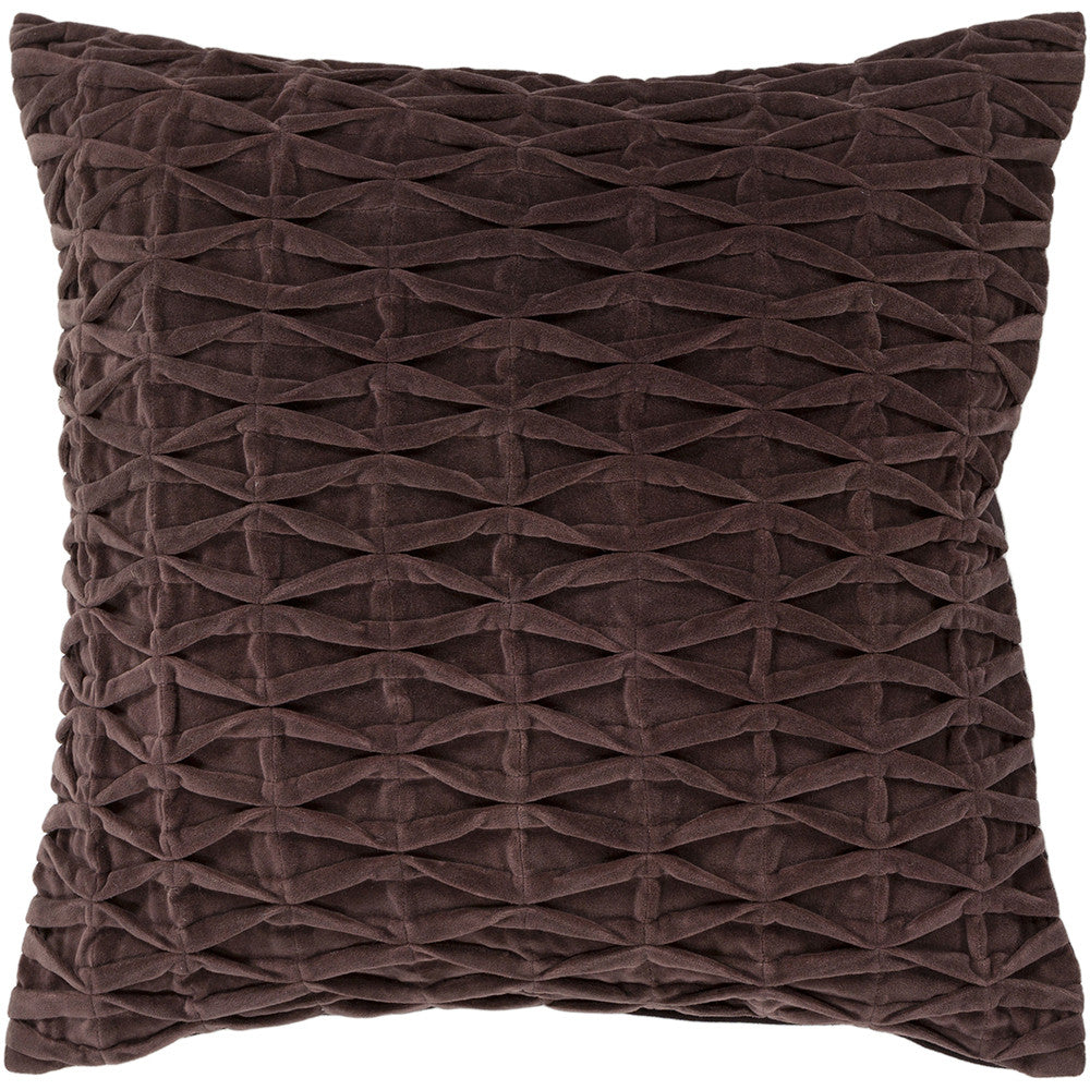 Cotton & Velvet Pillow in Brown design by Chandra rugs