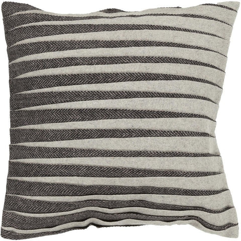 Handmade Contemporary Pillow, Black & Grey