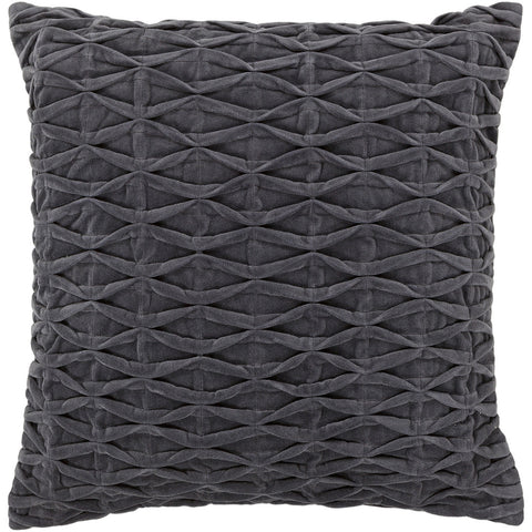 Cotton & Velvet Pillow in Grey