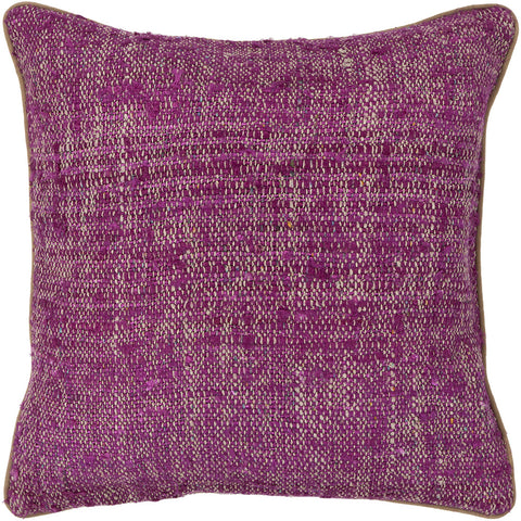 Silk Pillow in Magenta & Natural