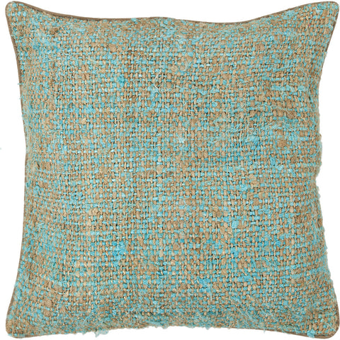 Silk Pillow in Blue & Natural