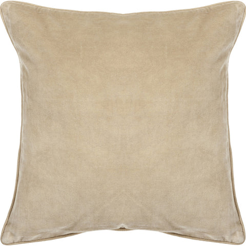 Cotton & Velvet Pillow in Beige