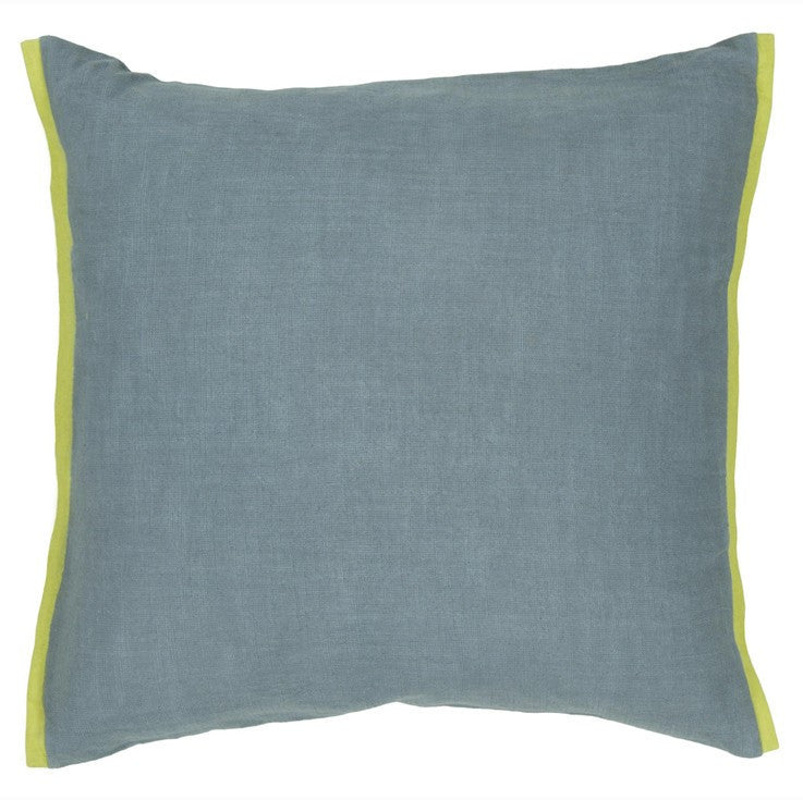 Handmade Contemporary Pillow, Blue w/ Green Edge design by Chandra Rugs