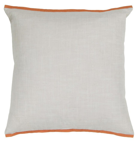 Handmade Contemporary Pillow, White w/ Orange Edge