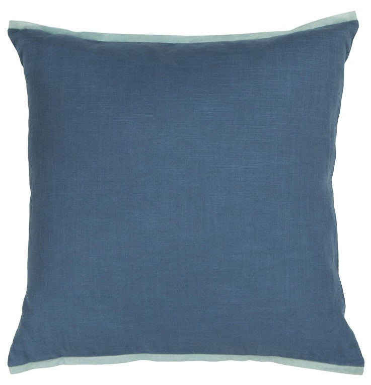 Handmade Contemporary Pillow, Blue w/ Light Blue Edge design by Chandra Rugs