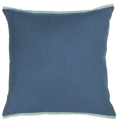 Handmade Contemporary Pillow, Blue w/ Light Blue Edge