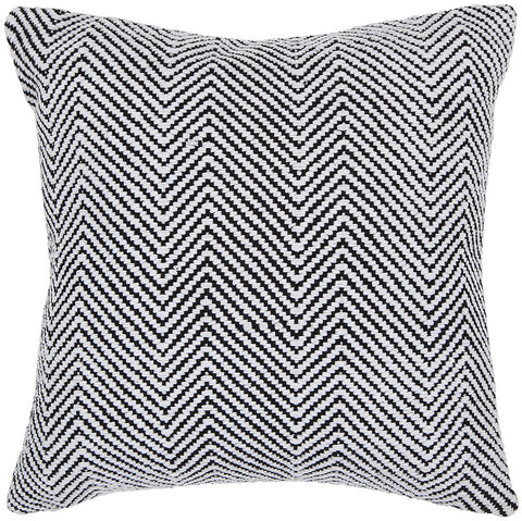 Cotton Pillow in White & Black