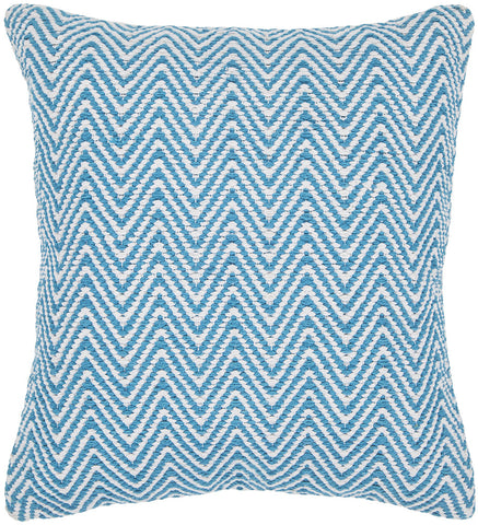 Cotton Pillow in Blue & White