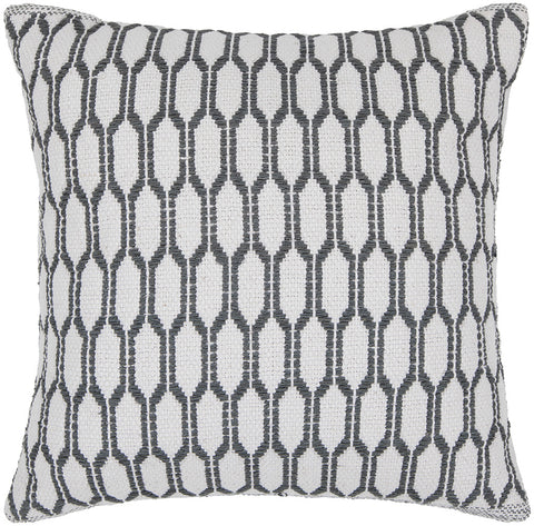 Cotton Pillow in White & Grey