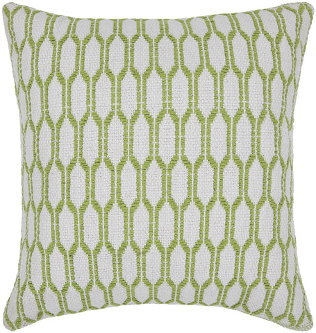 Cotton Pillow in White & Green design by Chandra rugs