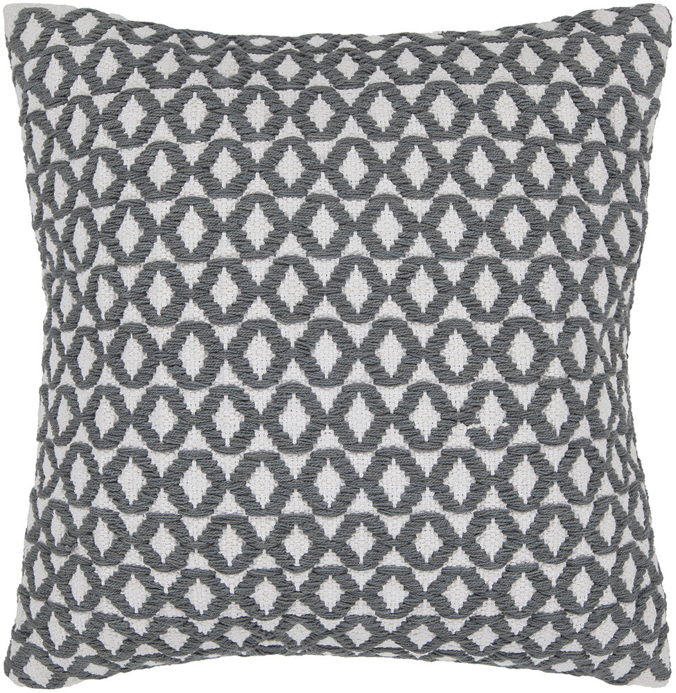Cotton Pillow in White & Grey design by Chandra rugs