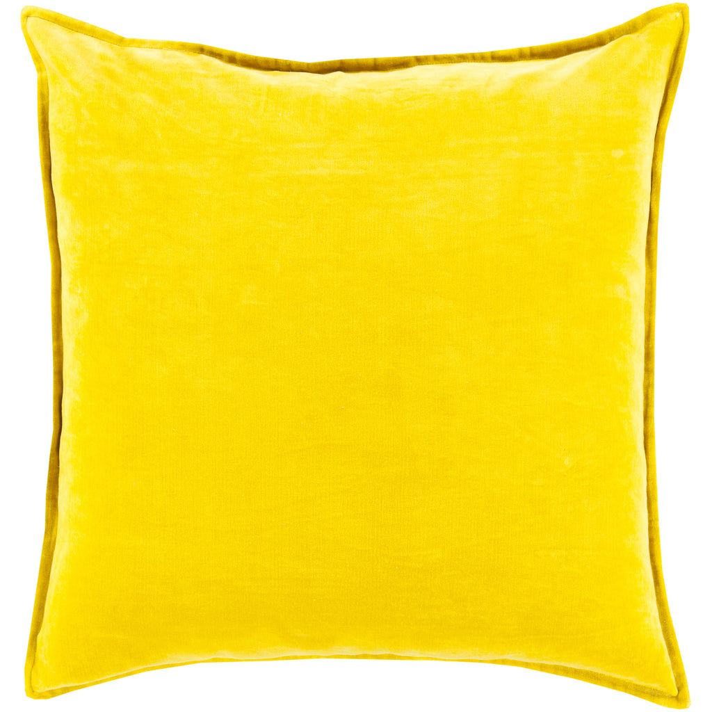 Cotton Velvet Velvet Pillow in Mustard