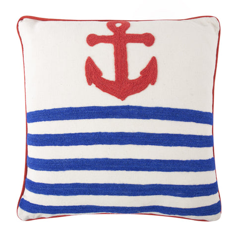 Anchor Crewel Work Pillow design by Thomas Paul