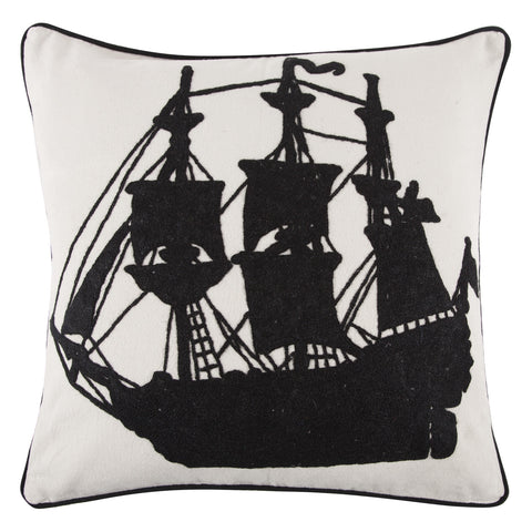 Ship Crewel Work Pillow design by Thomas Paul