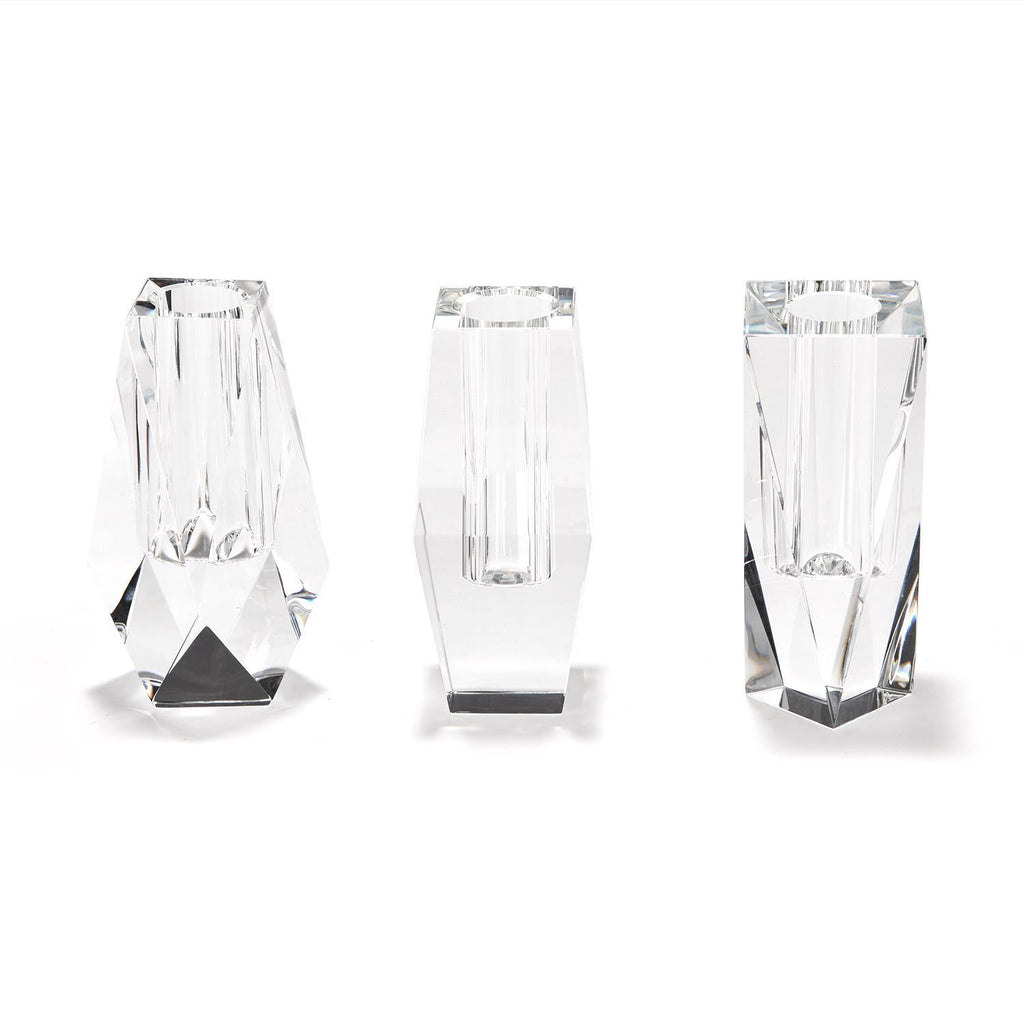 Faceted Hand-Cut Crystal Glass Bud Vases in Gift Box