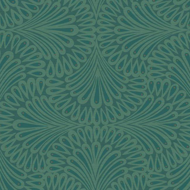 Sample Cabaret Wallpaper in Blues from the Deco Collection by Antonina Vella for York Wallcoverings