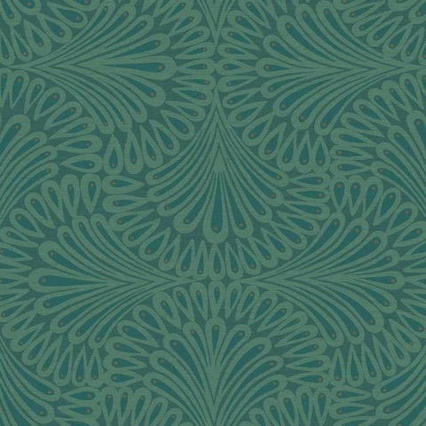 Cabaret Wallpaper in Blues from the Deco Collection by Antonina Vella for York Wallcoverings