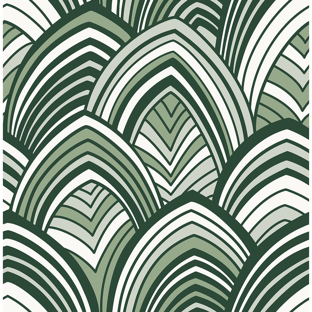 Sample Cabarita Art Deco Flocked Leaves Wallpaper in Green from the Pacifica Collection by Brewster Home Fashions