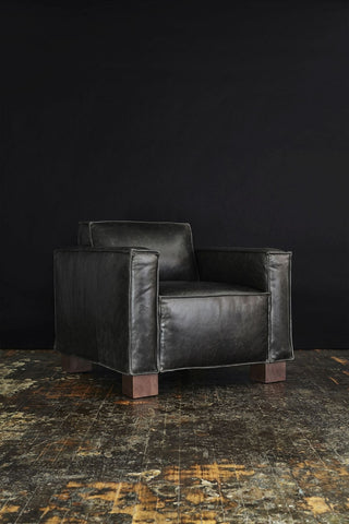 Cabot Chair in Saddle Grey Leather design by Gus Modern