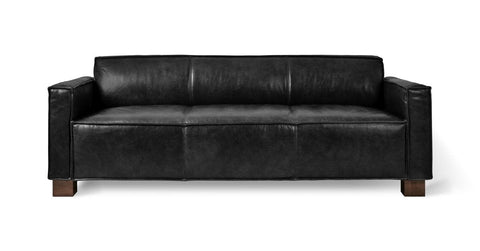 Cabot Sofa in Saddle Black Leather design by Gus Modern
