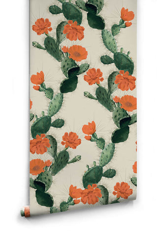 Cactus Wallpaper in Red Day from the Kingdom Home Collection by Milton & King