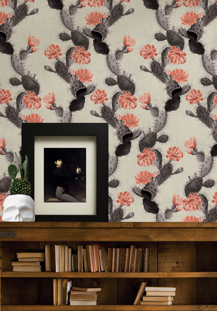 Cactus Wallpaper in Twilight Pink from the Kingdom Home Collection by Milton & King