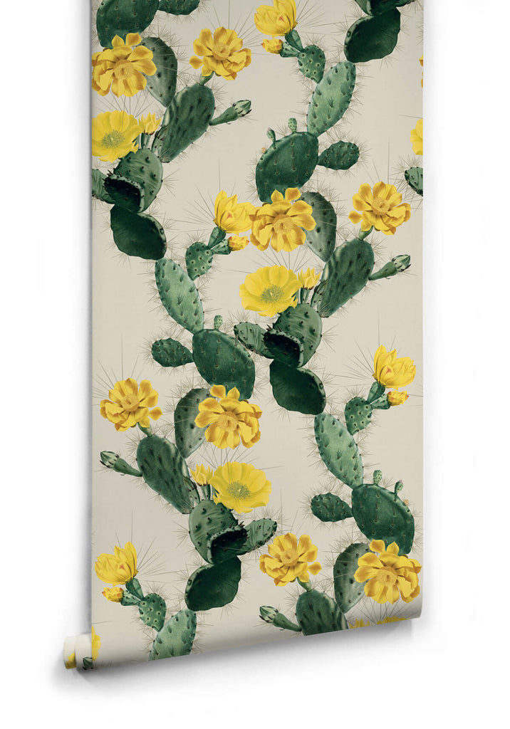 Cactus Wallpaper in Yellow Day from the Kingdom Home Collection by Milton & King