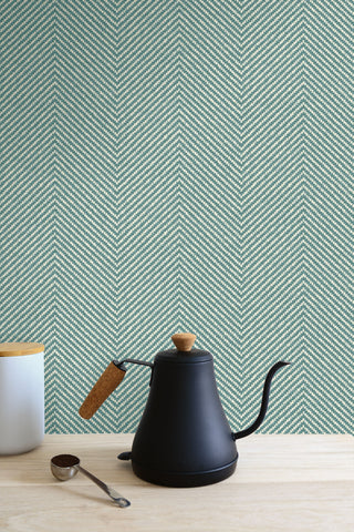 Cafe Chevron Wallpaper in Aqua from the More Textures Collection by Seabrook Wallcoverings