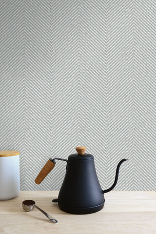 Cafe Chevron Wallpaper in Oyster from the More Textures Collection by Seabrook Wallcoverings