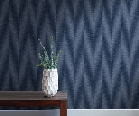 Cafe Chevron Wallpaper in Storm Blue from the More Textures Collection by Seabrook Wallcoverings