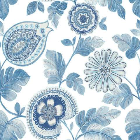Calypso Paisley Leaf Wallpaper in Blue Oasis and Ivory from the Boho Rhapsody Collection by Seabrook Wallcoverings