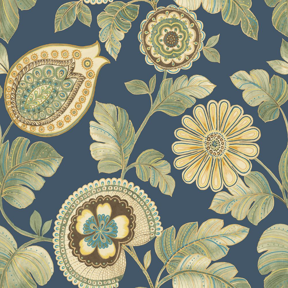 Calypso Paisley Leaf Wallpaper in Champlain and Rosemary from the Boho Rhapsody Collection by Seabrook Wallcoverings