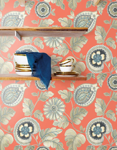 Calypso Paisley Leaf Wallpaper in Coral and Aloe from the Boho Rhapsody Collection by Seabrook Wallcoverings