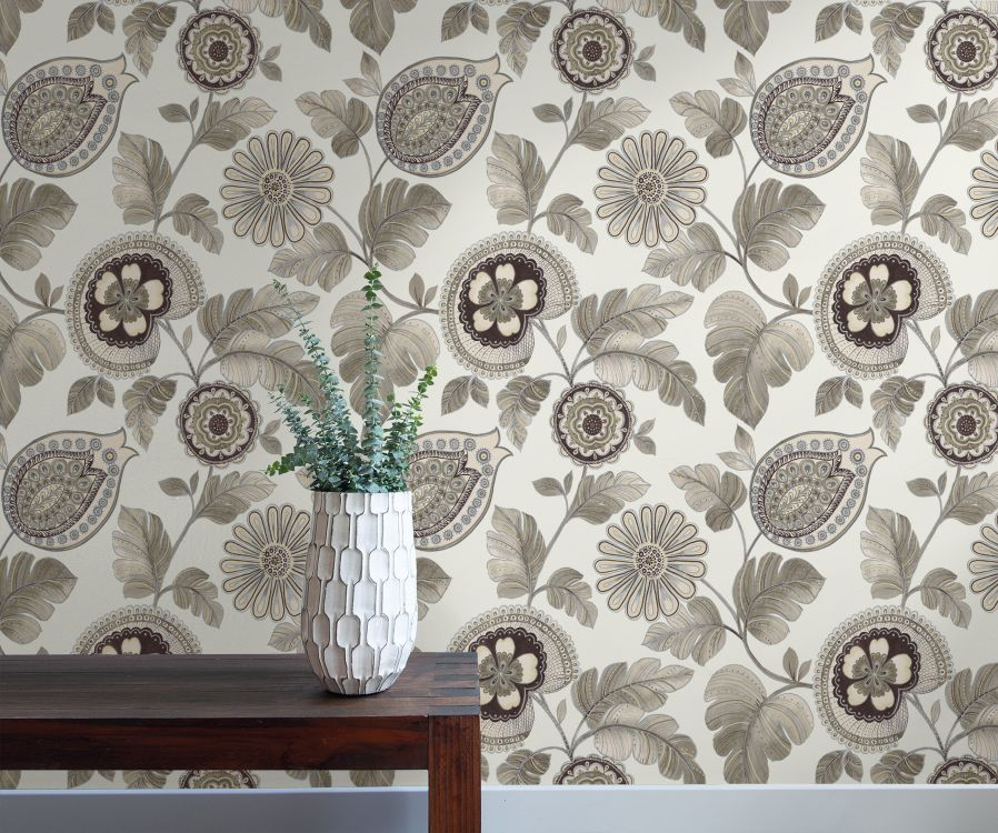 Calypso Paisley Leaf Wallpaper in Stone and Latte from the Boho Rhapsody Collection by Seabrook Wallcoverings