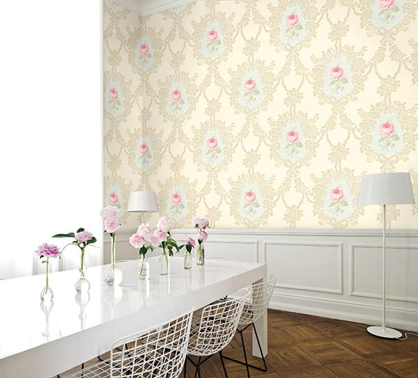 Cameo Rose Wallpaper from the Watercolor Florals Collection by Mayflower Wallpaper