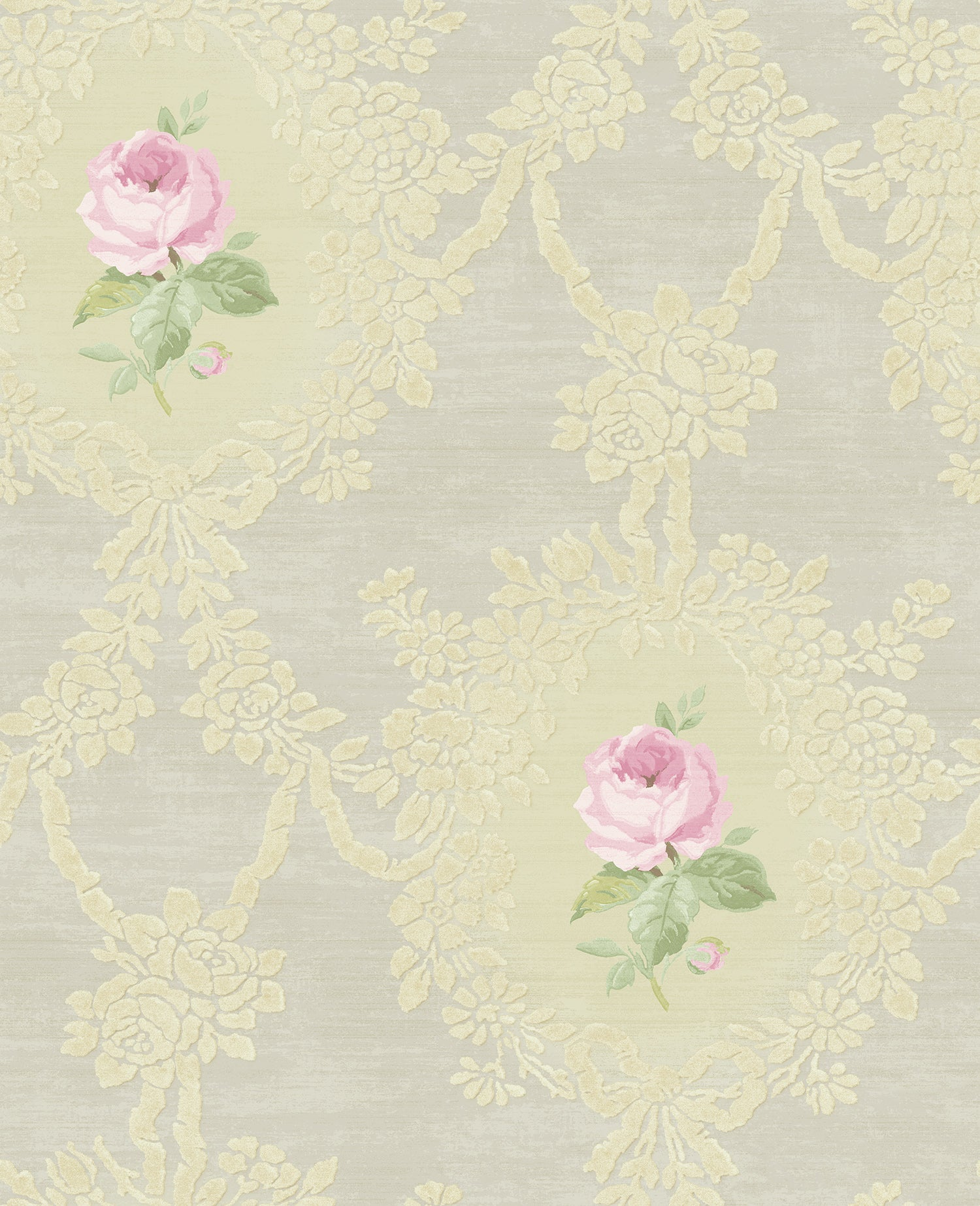 Sample Cameo Rose Wallpaper In Grey Silver And Lilac From The