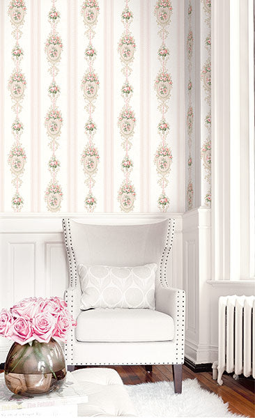Cameo Stripe Wallpaper in Rosy from the Spring Garden Collection by Wallquest