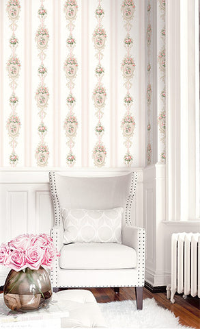 Cameo Stripe Wallpaper from the Spring Garden Collection by Wallquest