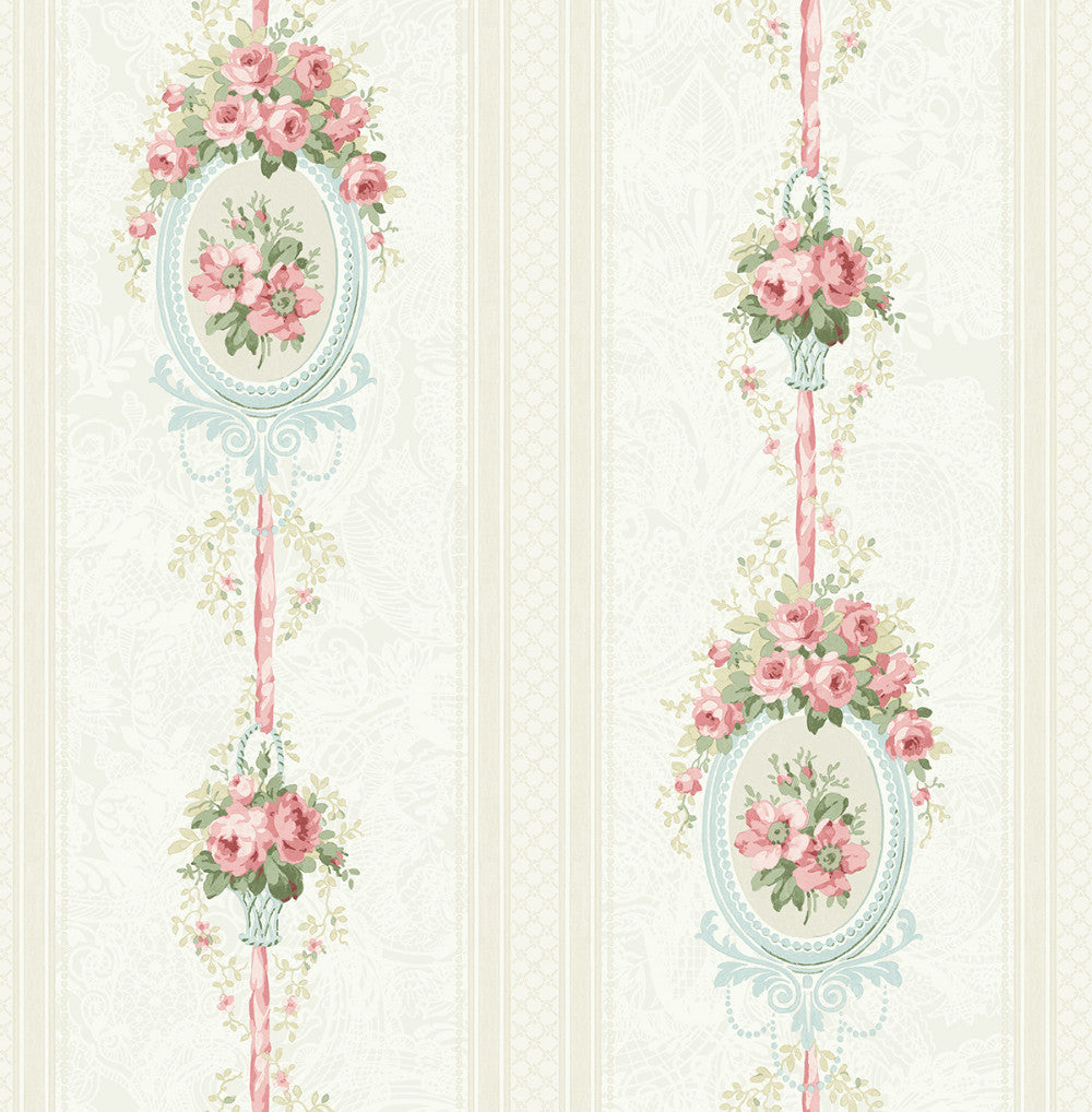 Cameo Stripe Wallpaper In Pretty Pink From The Spring Garden