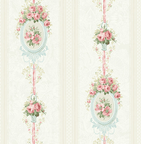 Cameo Stripe Wallpaper in Pretty Pink from the Spring Garden Collection by Wallquest