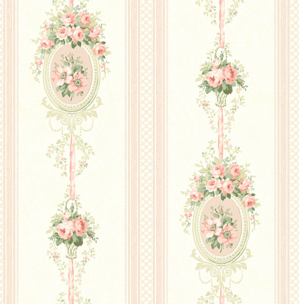Sample Cameo Stripe Wallpaper in Rosy from the Spring Garden Collection by Wallquest