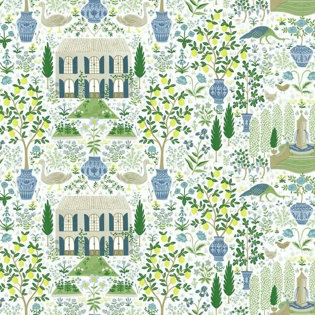 Camont Wallpaper in Blue-Green from the Rifle Paper Co. Collection by York Wallcoverings