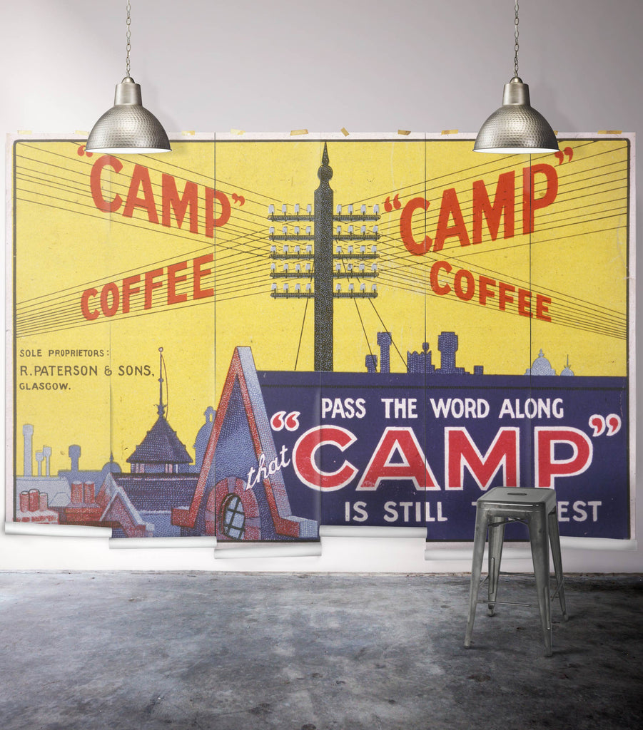 Sample Camp Coffee Wall Mural from the Erstwhile Collection by Milton & King