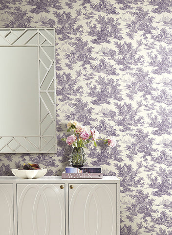 Campagne Toile Wallpaper in Black and White by Ashford House for York Wallcoverings