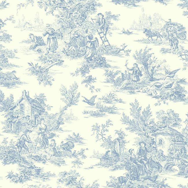 Campagne Toile Wallpaper in Blue by Ashford House for York Wallcoverings