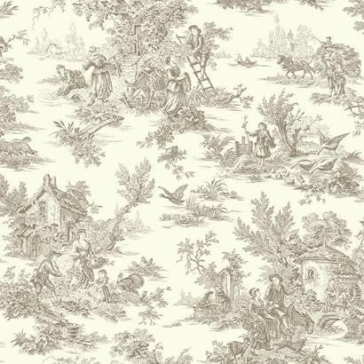 Campagne Toile Wallpaper in Soft Grey by Ashford House for York Wallcoverings