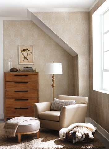 Candlewick Wallpaper in Brown and Beige from the Norlander Collection by York Wallcoverings