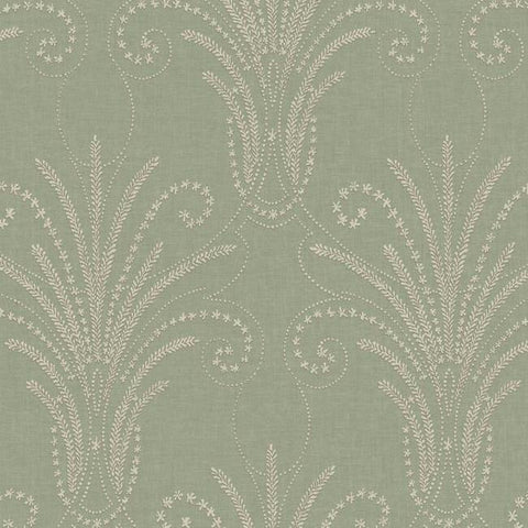 Candlewick Wallpaper in Green and Beige from the Norlander Collection by York Wallcoverings