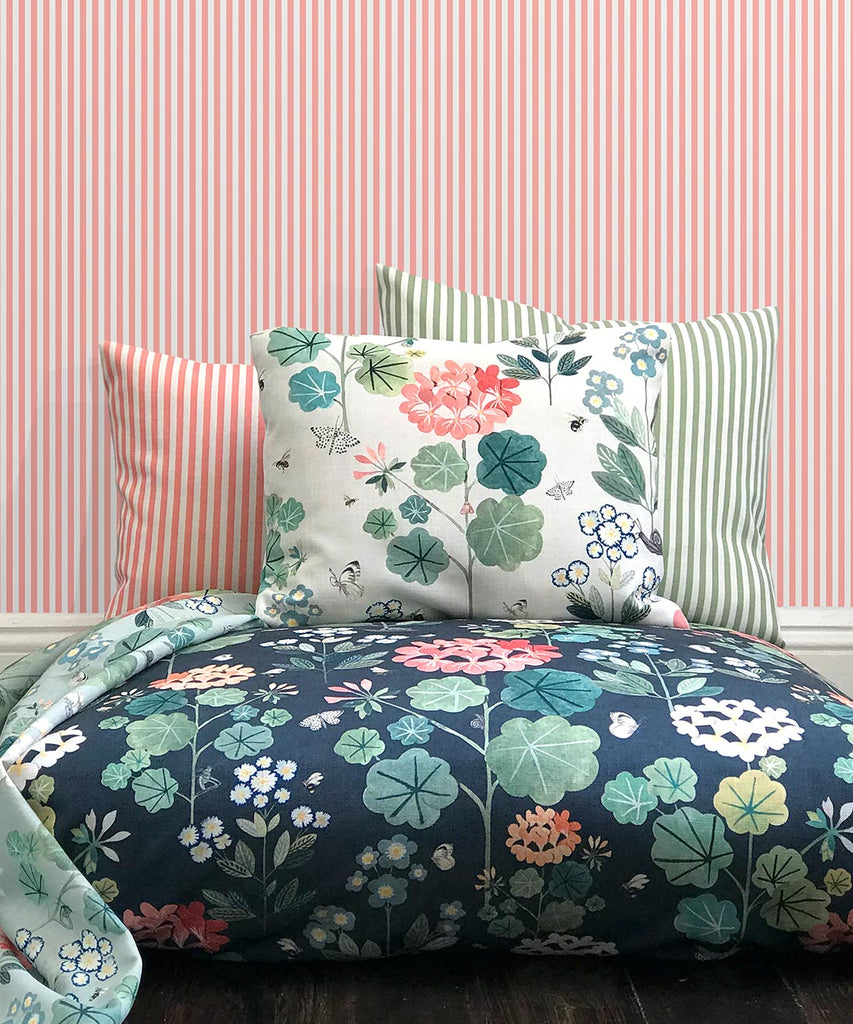 Candy Stripe Wallpaper in Pink by Bethany Linz for Milton & King