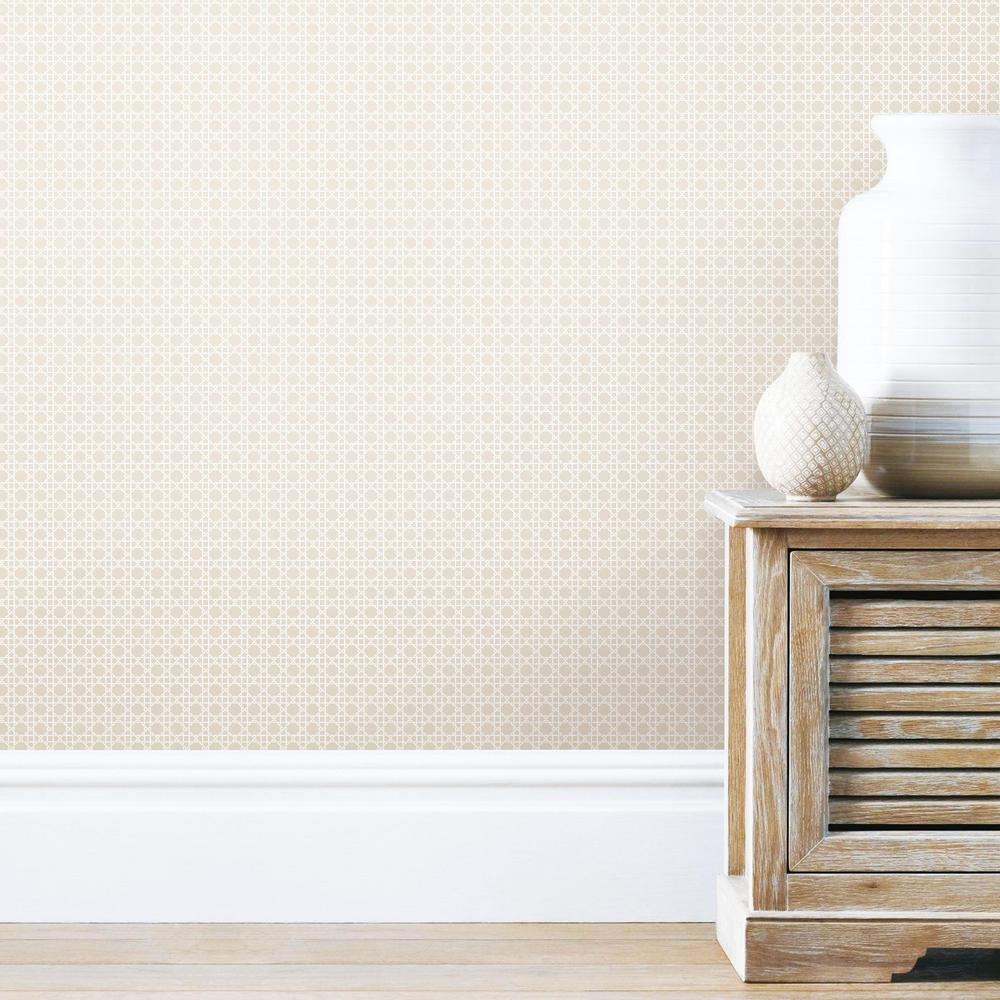 Caning Peel Stick Wallpaper In Tan By Roommates For York Wallcoverin Burke Decor